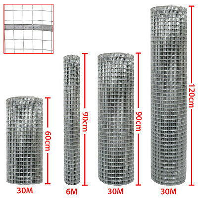 "1""x1"" Welded Wire Mesh Aviary Fencing Fence Chicken Rabbit Garden Galvanised 30M"