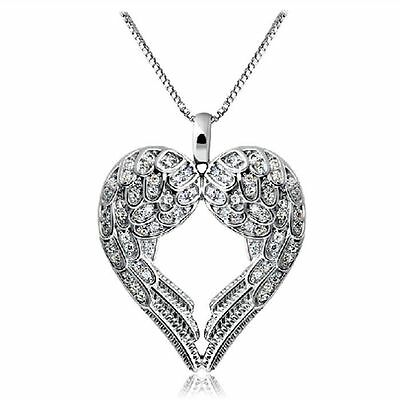 Women 925 Sterling Silver Angel Wing LOVE Heart Silver Pendant Necklace Gift New
