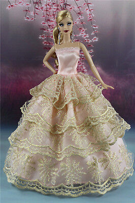 Pink Fashion Princess Party Dress Wedding Clothes/Gown For Barbie Doll S162p