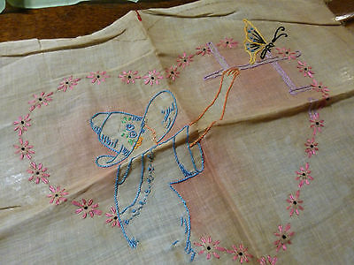 2 ORGANDY BOUDOIR PILLOW VINTAGE UNFINISHE  TINTED,HAND EMBROIDERED 1920 - 1930