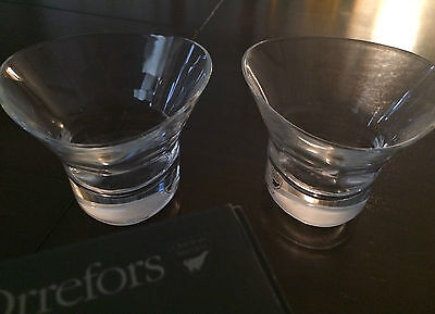 Orrefors Sweden Tre Martini Glass Pair Crystal 6719462 NIB - Set/2 Free Shipping