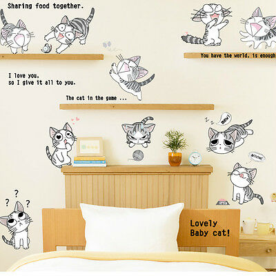 Baby Room Home Decor Art Vinyl Cartoon Cat  Mural Decal Removable Wall Stickers