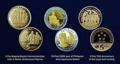 2014  3 pcs Commemorative Coins  Philippines Mabini Bagong Bayani Leyte Gulf UNC