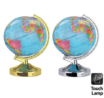 Illuminated World Globe 4-Way Touch Control Light Up Table Lamp Chrome / Brass