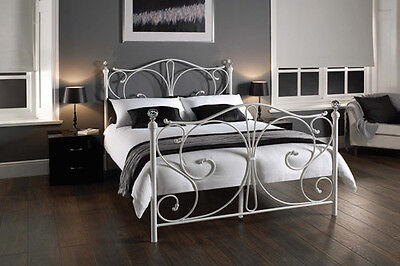 Sherry Metal Bed Frame Crystal Finials Now Available In White & Black Special