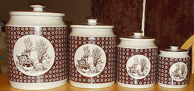 Vintage Japan 1978 Enesco Country Kitchen Ceramic Tableware Canister set..RARE
