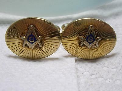 Vintage La Mode 10K Gold Filled MASONIC Cufflinks