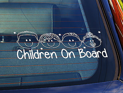 Static Cling Window Car Sign/Decal Children on board 3 Boys & 1 Baby Girl