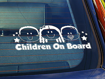 Static Cling Window Car Sign/Decal Children on board Boy, Girl & Baby Girl B1