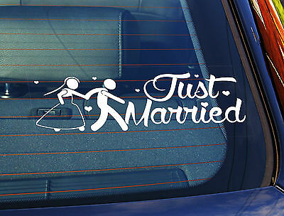 Static Cling Window Car Sign/Decal Just Married, Couple, Wedding Day