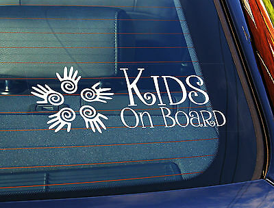 Static Cling Window Car Sign/Decal Kids on Board 5 Swirl Hands