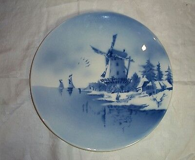 """Vintage/Antique German Blue Delft Windmill Scene 12"""" Charger Plate/Wall Hanging"""
