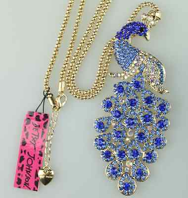 Free ship Betsey Johnson quality full drill blue crystal peacock necklace N188