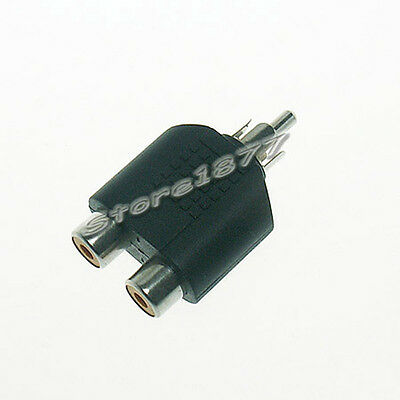 2pcs RCA Male to 2RCA Female Connector Converter Adapter s619