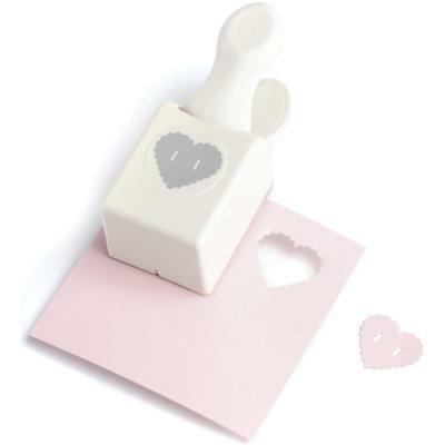 Martha Stewart hand lever double embossed scalloped Heart Button Punch