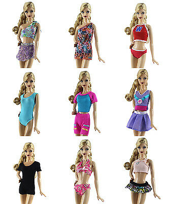 10 Items=5 PCS Lovely Fashion Bikini Swimsuit + 5 Pairs Shoes for Barbie Doll H5