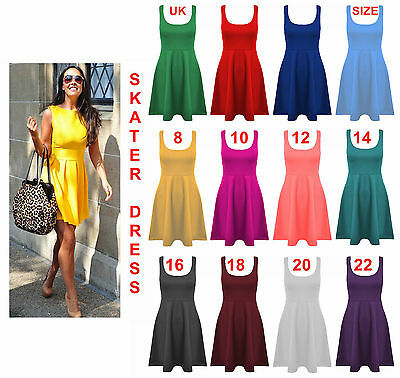 Women Skater Dress Ladies Sleeveless Flared Frankie Dress Girls Short Party Top