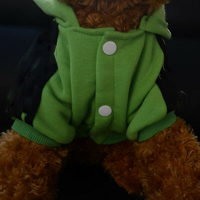 Green Pet  Dog Winter Coat Jacket Clothes Hoodie Sweater Apparel Size L 25CM