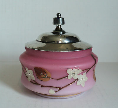 Nice Victorian Pink Satin Glass Candy Dish Enameled Decoration Silverplated Top
