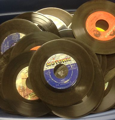 """Lot of 50 45 rpm Vinyl Records for Crafts and Decoration 7"""""""