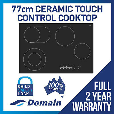 NEW DOMAIN 77cm CERAMIC GLASS TOUCH CONTROL ELECTRIC COOKTOP - CARTON DAMAGED