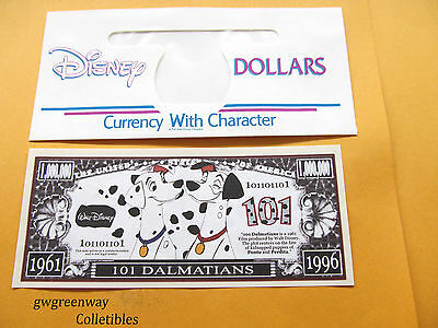 "DISNEY NOVELTY $1,000,000 BILL/"" 101 DALMATIANS/"" /& DISNEY DOLLAR  ENVELOPE"