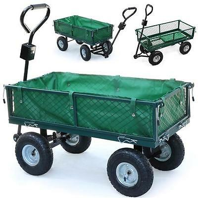 Heavy Duty Large Garden Trolley Cart Truck 4 Wheel Transport Metal Wheelbarrow