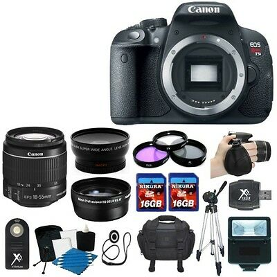 Canon EOS Rebel T5i 700D SLR Camera + 3 Lens 18-55 STM +32GB KIT & More New