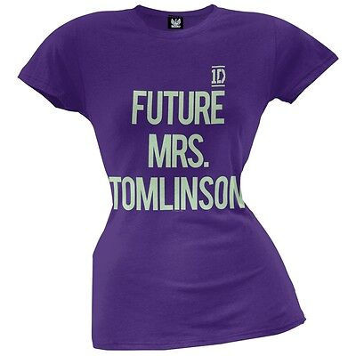 One Direction Future Mrs Tomlinson Girls Juniors Purple T Shirt New Official 1D
