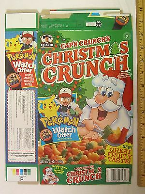 QUAKER Cereal Box CAP'N CRUNCH 1999 CHRISTMAS CRUNCH Pokemon