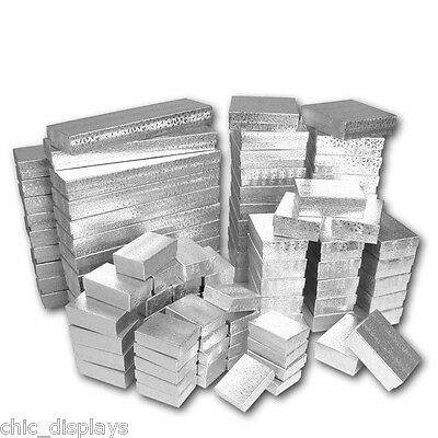 LOT OF 100 ASSORTED GIFT BOXES SILVER COTTON FILLED BOX GIFT BOX JEWELRY BOXES