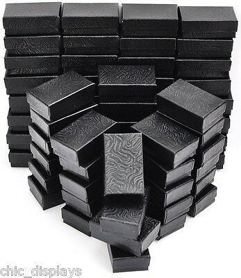 """LOT OF 100 COTTON FILLED BLACK GIFT BOXES JEWELRY BOXES CUFF LINKS BOX 2'x1""""'T"""