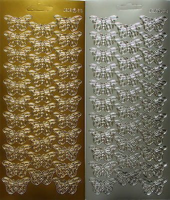 Small Butterfly Outline Peel Off Sheet 32 Stickers For Wedding Card Making Craft