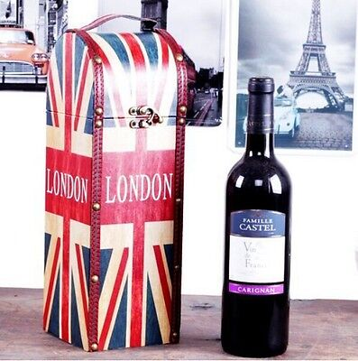 Retro Style UK British Flag Wine Bottle Box Case Carrier Wood PU Leather Gift