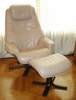 Danish Modern Leather Rosewood Recliner Lounge Chair & Ottoman. Ekornes/Stouby