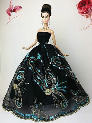 Black Fashion Princess Party Sequin Dress/Clothes/Gown For Barbie Doll S12