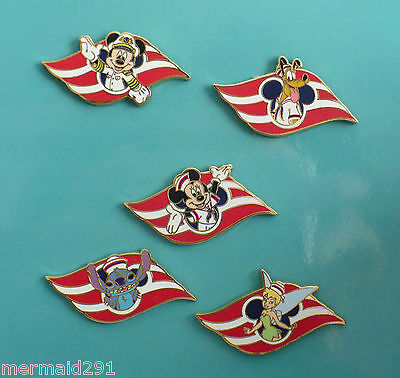 Disney Cruise Line-Dcl Set Of 5 Wave Pins; Mickey, Minnie, Stitch, Tinkerbell, +