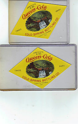 Two Queen-Cola Soda Labels Cold Spring Bottling Co. Punxsutawney Pennsylvania