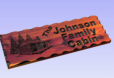 Personalized Custom Carved Cabin Cedar Wood Sign Rustic Plaque Home Decor