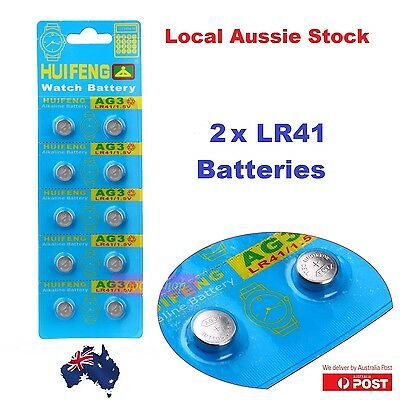 2x Pack LR 41 1.5 Volt Alkaline Button Cell Battery AG3 392 SR41 192 RW87 V3GA g