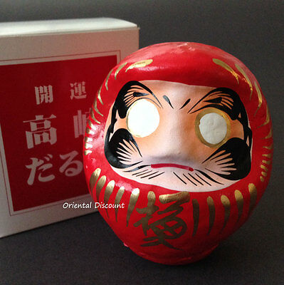 "Japanese 3.75""H Red Daruma Doll for Luck & Good Fortune SUCCESS, Made in Japan"
