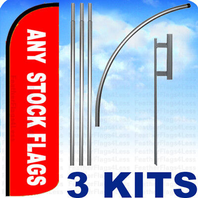 3 KITS - WINDLESS Swooper Feather Any Stock Flag Mix Match Pack