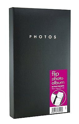 "Black Hardback 40 Pocket Holds 80 6"" x 4"" Pictures Celebration Flip Photo Album"