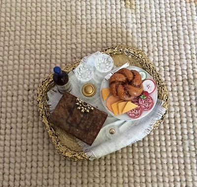 Pat Tyler Dollhouse Miniature Wicker Basket Tray W/Cheese Book Wine 1:12 p154