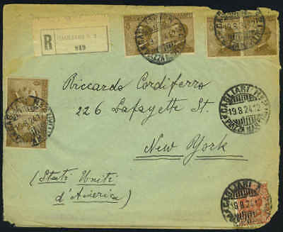 ITALY 1924 REGISTERED CAGLIARI TO NEW YORK