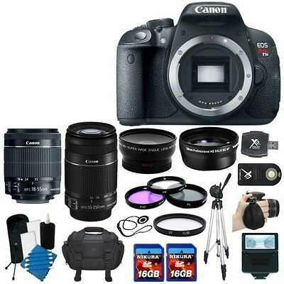 Canon EOS Rebel T5i 700D SLR Camera + 4 Lens 18-55 STM & 55-250 IS + 32GB KIT