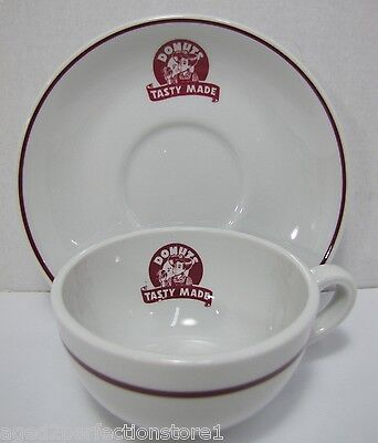 Vintage Tasty Made Donuts Advertising Cup Saucer Restaurant Ware retro Shenango