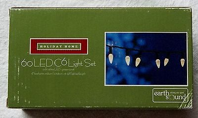 C-6 SOFT-WHITE 60 LED LIGHT SET BULBS REMAINS LIT INDOOR/OUTDOOR B/NEW,IN BOX