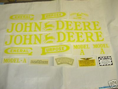 John Deere A Unstyled Tractor Decal Set - NEW FREE SHIPPING