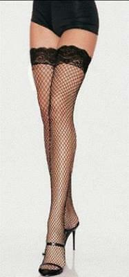 Black Fishnet Stockings Lace Top Thigh High  - Standard and Plus Size
